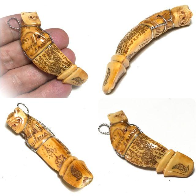 Carved Boars Tusk Talismanic Charm Luang Por Sawai Wat Bridaram