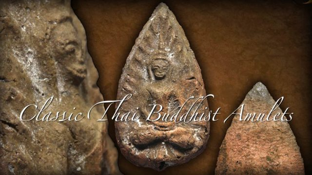 Classic Thai Buddhist Amulets the amulet in this image is the Pra Kru Wat Ling Khob