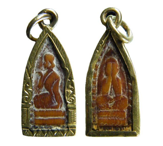 Nang Kwak Hlang Pra Pid Ta Carved Amulet of LP Derm, with Nang Kwak on one side, and Pra Pid Ta on the other side